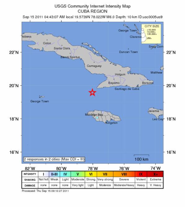 Trzęsienie ziemi na Morzu Karaibskim (USGS)