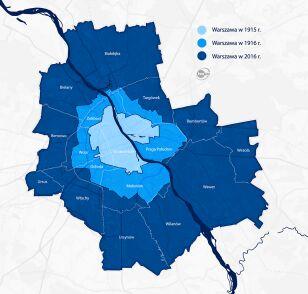 Granice Warszawy w 1915, 1916 i 2016 r.