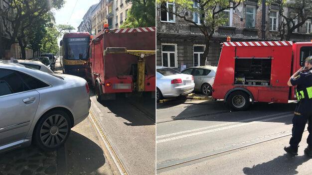 Auto zablokowało torowisko na Pradze