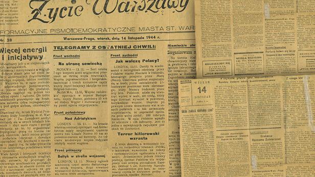 """""""Życie Warszawy"""" z 1944 r.  ze zbiorów Muzeum Warszawskiej Pragi / muzeumpragi.pl"""
