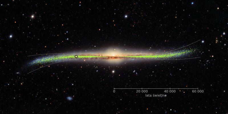 Dysk galaktyczny jest płaski do odległości 25 tysięcy lat świetlnych od centrum Galaktyki (J. Skowron/OGLE)