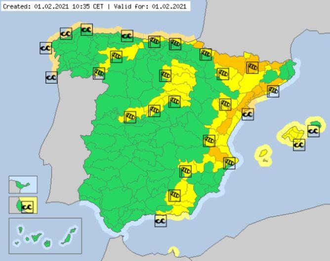 Aktualne ostrzeżenia meteorologiczne w Hiszpanii (meteoalarm.eu)
