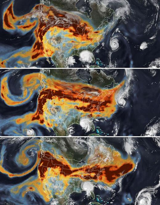 Droga dymu z kalifornijskich pożarów na zdjęciach satelitarnych, 14-16 września 2020 r. (earthobservatory.nasa.gov)