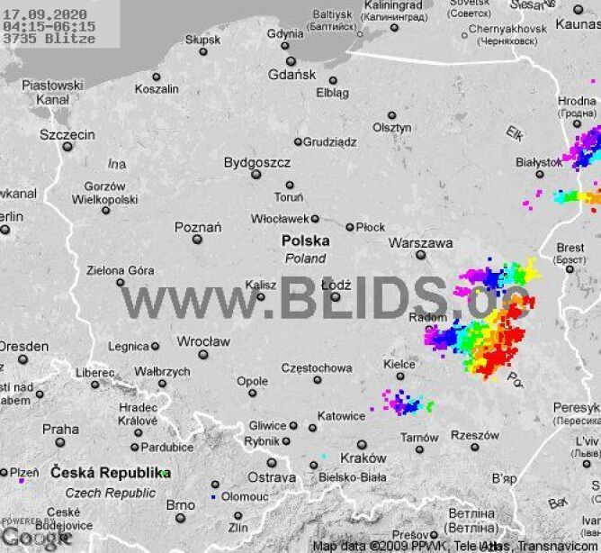 Ścieżka burz nad Polską (godz. 4.15-6.15) (blids.de)