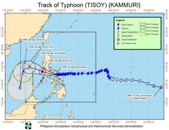 Prognozowana trasa tajfunu Kammuri  (PAGASA)