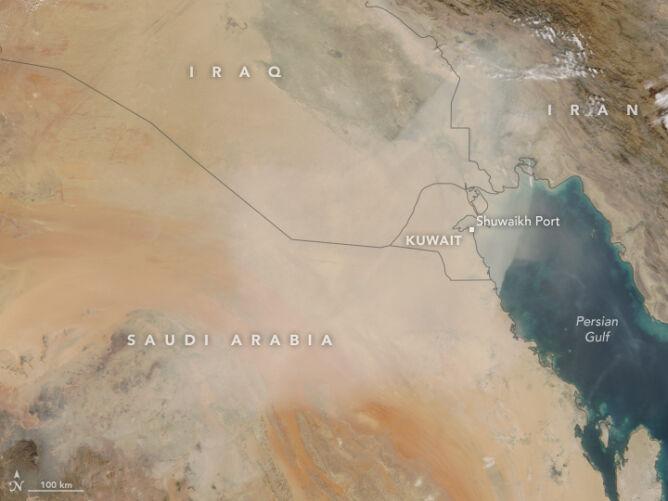 Burza piaskowa nad Kuwejtem i Zatoką Perską 31 października 2017 roku (NASA)