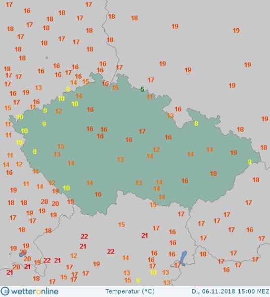 Temperatura powietrza 6 listopada o godzinie 15 w Czechach (wetteronline.de)