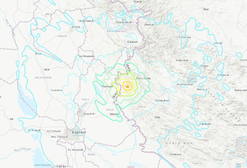 Epicentrum i siła wstrząsów (USGS)