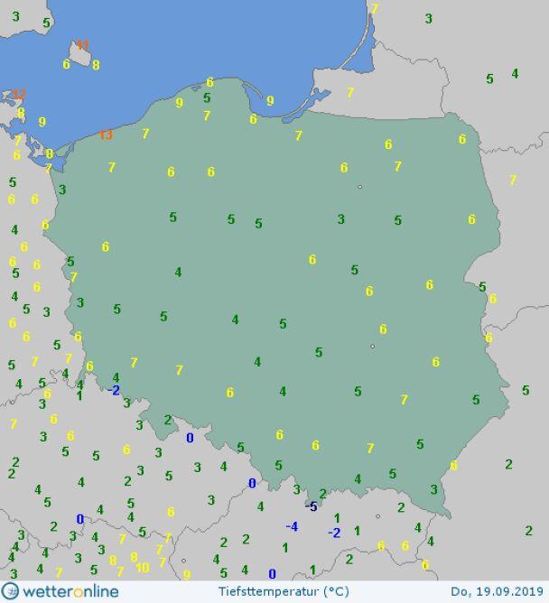 Temperatura minimalna 19 września (wetteronline.de)