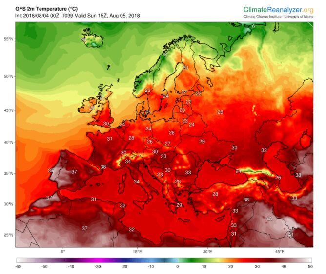 Prognozowana temperatura według modelu GFS na niedzielę 5 sierpnia (ClimateReanalyzer/University of Maine)