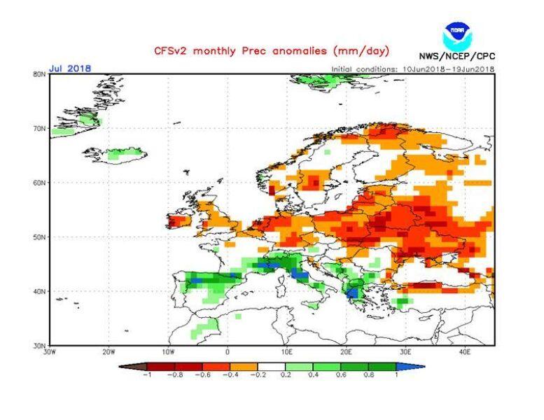 Odchylenie opadów od średniej dla lipca (NOAA)