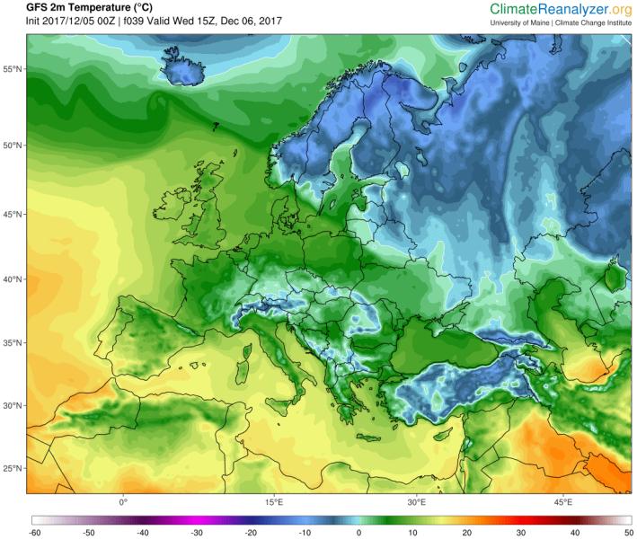 Temperatura 6 grudnia po południu (GFS/University of Maine)